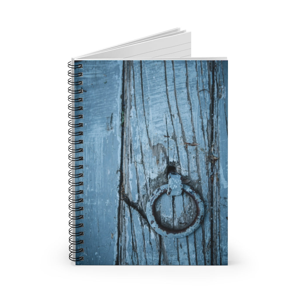 Spiral Notebook - Ruled Line - Wooden Blue Door