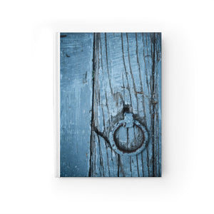 Journal - Ruled Line - Blue Wooden Door