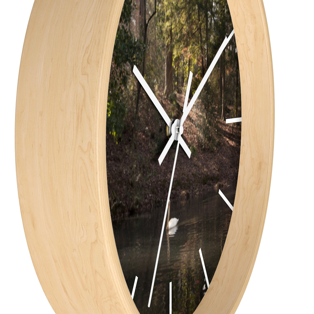Wall clock: Swan in Lake (with lines)