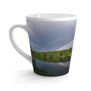 Latte mug: Double Rainbow Over Lake