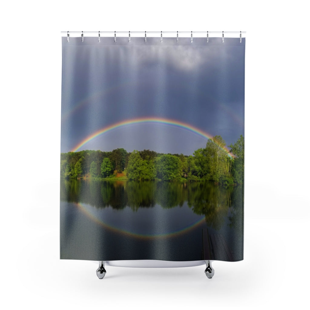 Shower Curtain: Double Rainbow Over Lake