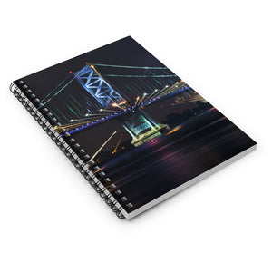 Spiral Notebook - Ruled Line - Benjamin Franklin Bridge at Night
