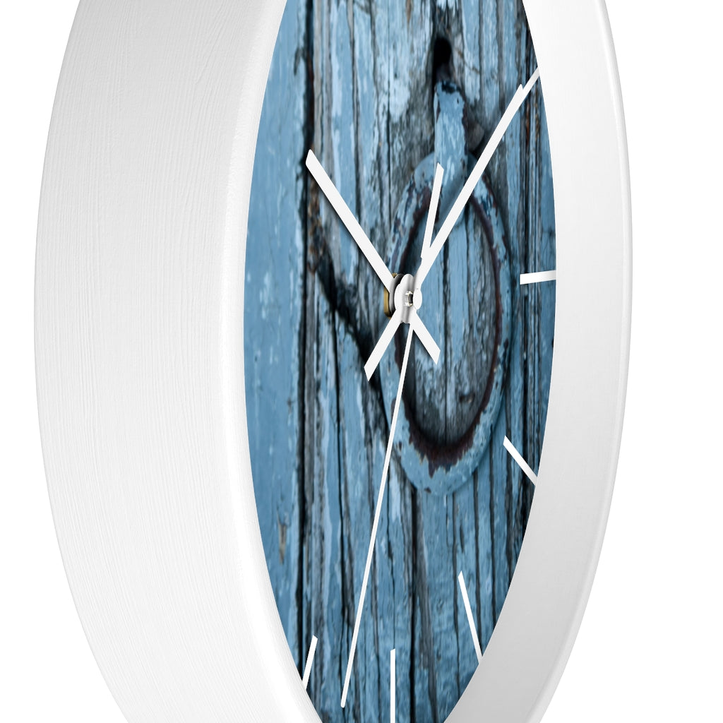 Wall clock: Blue Wooden Door (with lines)