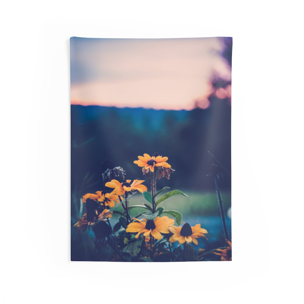 Indoor Wall Tapestries: Sunset Flowers