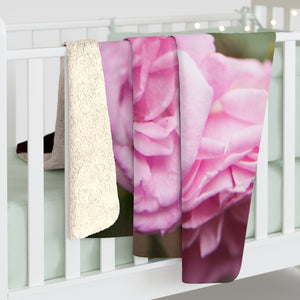 Sherpa Fleece Blanket: Pink Rose