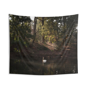 Indoor Wall Tapestries: Swan in Lake