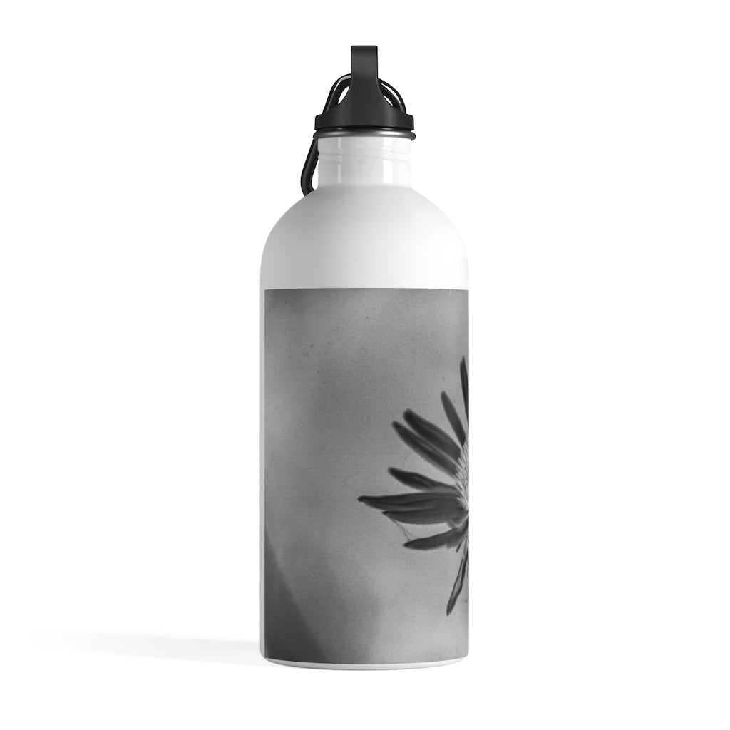 Stainless Steel Water Bottle: Silver Flower