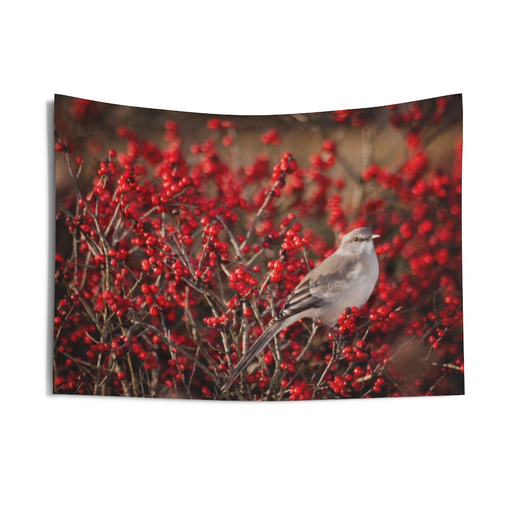 Indoor Wall Tapestries: Bird in the Berries