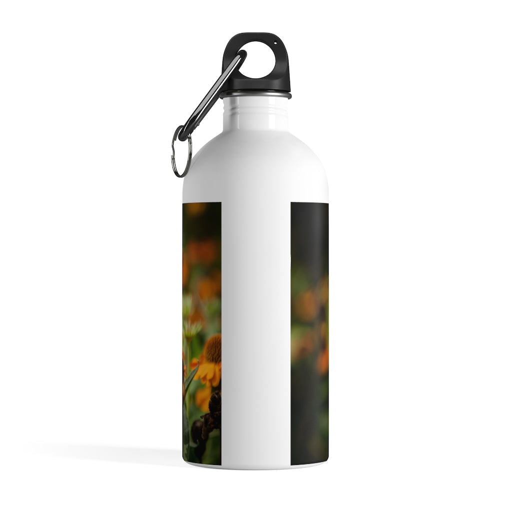 Stainless Steel Water Bottle: Golden Flowers
