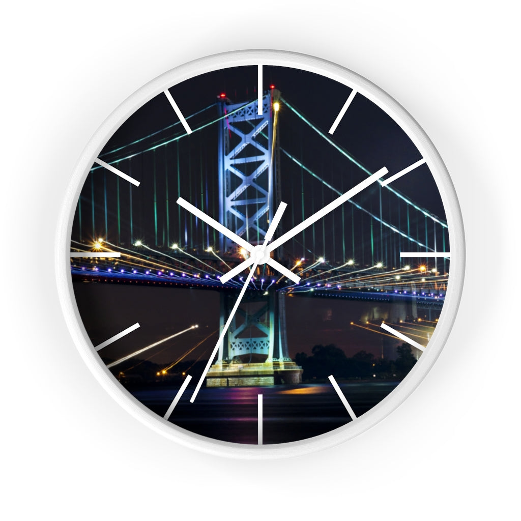 Wall clock: Benjamin Franklin Bridge at Night #2 (with lines)