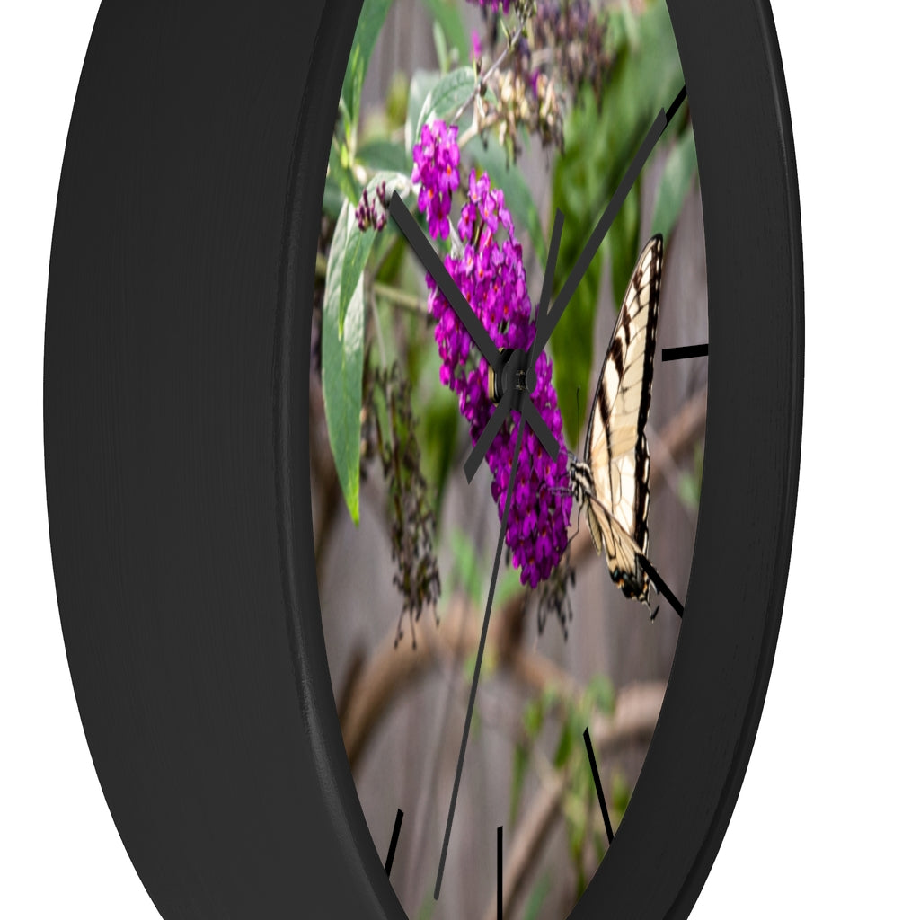 Wall clock: Butterfly in Bush (with lines)