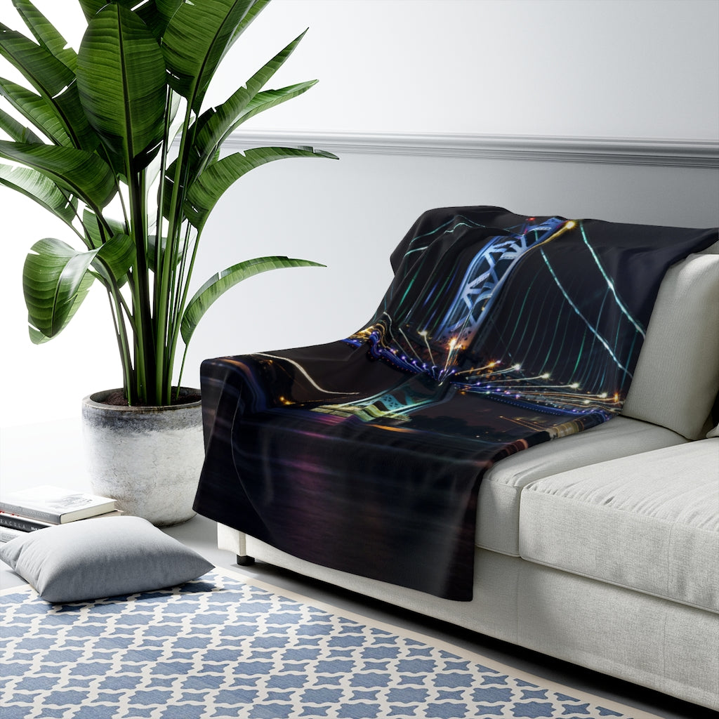 Sherpa Fleece Blanket: Benjamin Franklin Bridge at Night