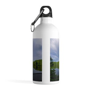Stainless Steel Water Bottle: Double Rainbow Over Lake