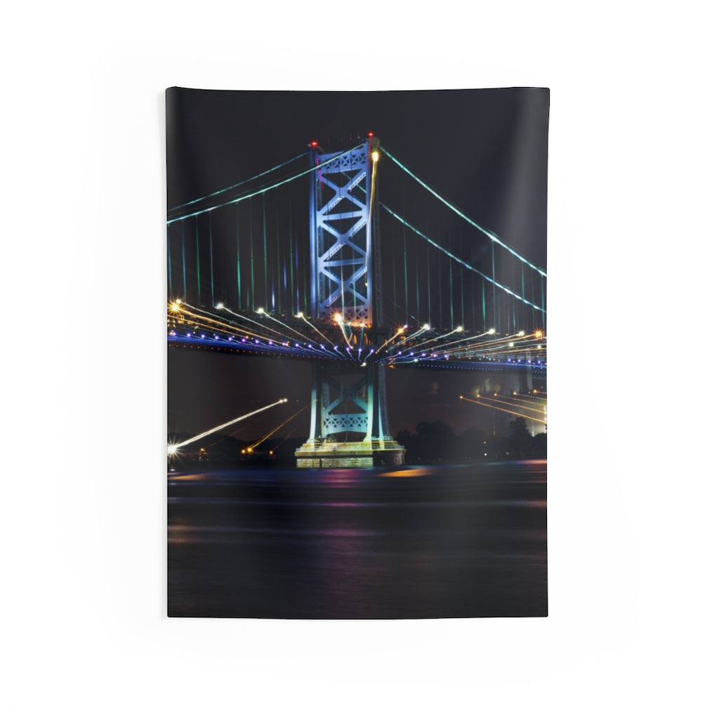 Indoor Wall Tapestries: Benjamin Franklin Bridge at Night (Vertical)