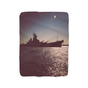 Sherpa Fleece Blanket: Battleship New Jersey