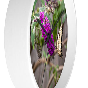 Wall clock: Butterfly in Bush