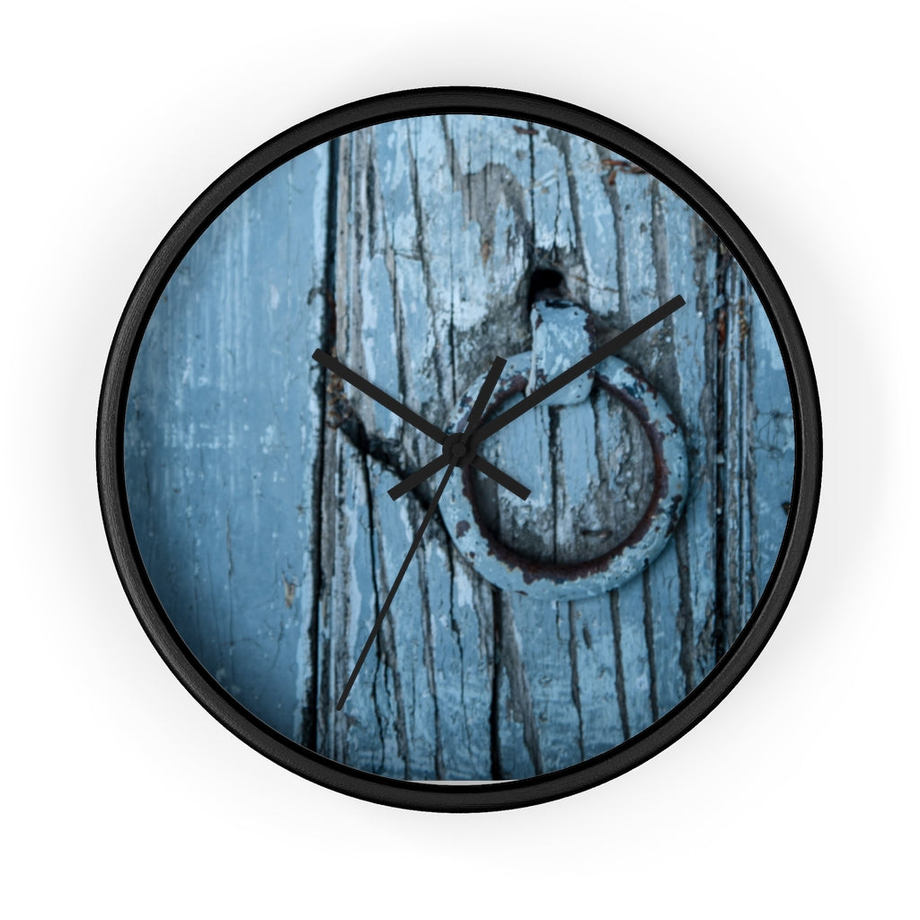 Wall clock: Blue Wooden Door
