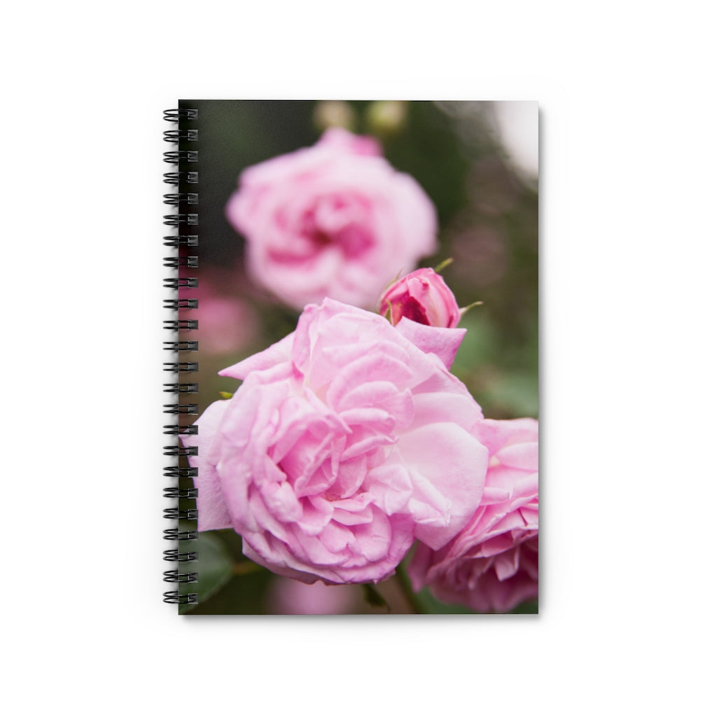 Spiral Notebook - Ruled Line - Pink Roses