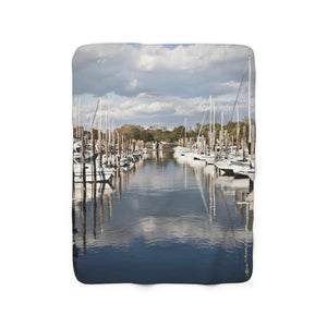 Sherpa Fleece Blanket: Row of Boats