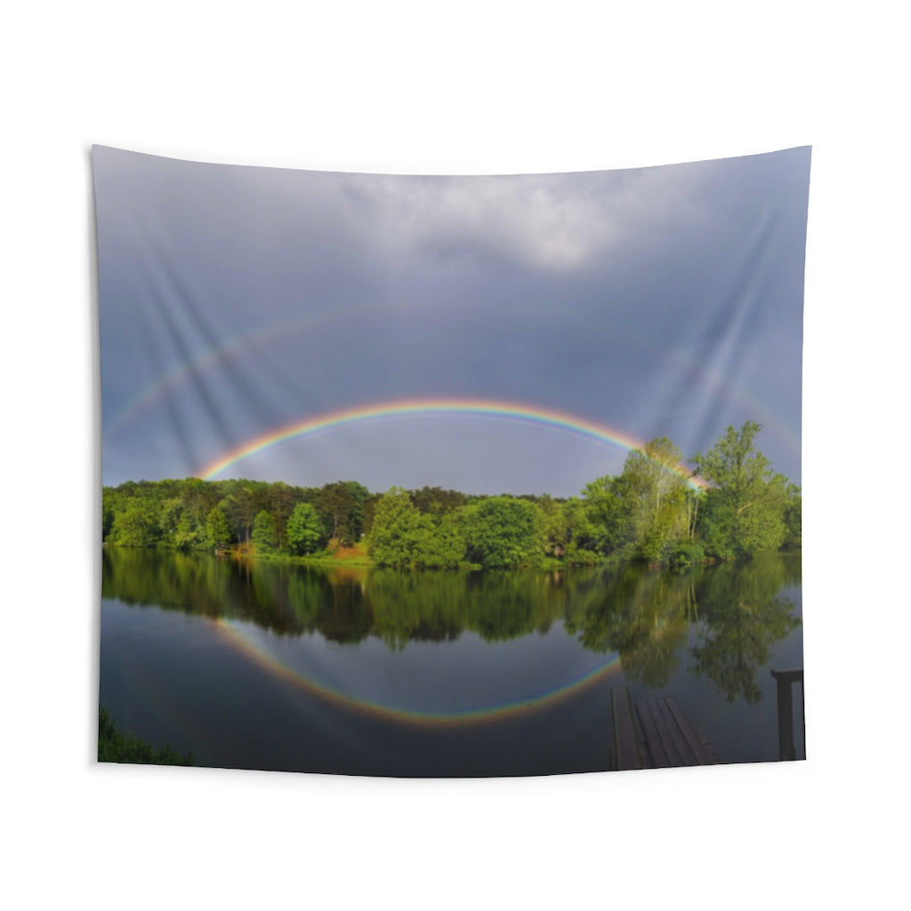 Indoor Wall Tapestries: Double Rainbow Over Lake