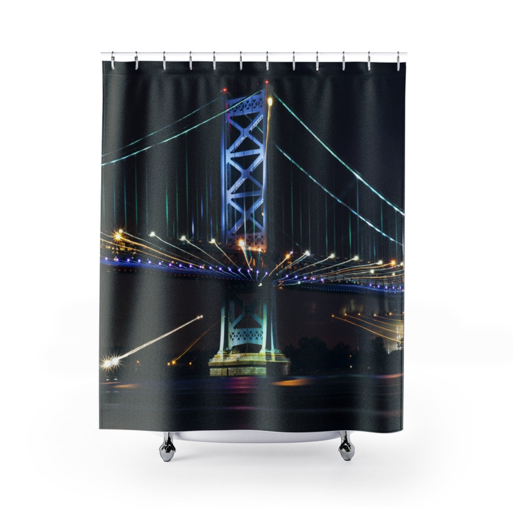 Shower Curtain: Benjamin Franklin Bridge at Night #2