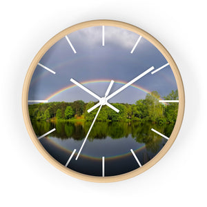 Wall clock: Double Rainbow Over Lake (with lines)