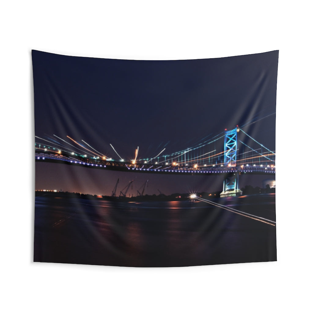 Indoor Wall Tapestries: Benjamin Franklin Bridge at Night