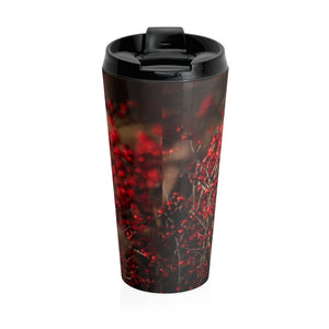Stainless Steel Travel Mug: Birdie in the Berries