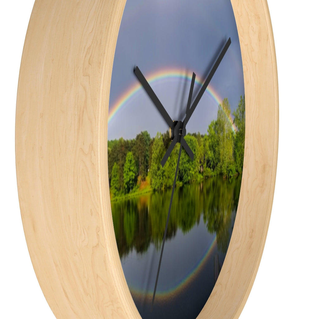 Wall clock: Double Rainbow Over Lake