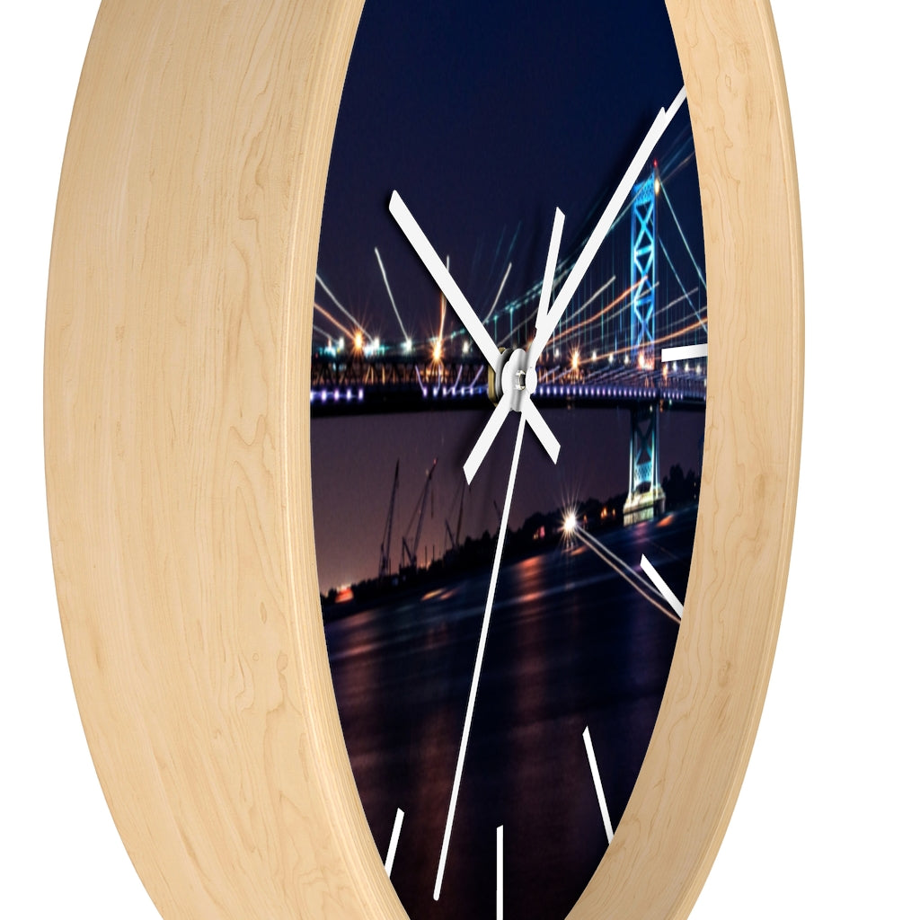 Wall clock: Benjamin Franklin Bridge at Night (with lines)