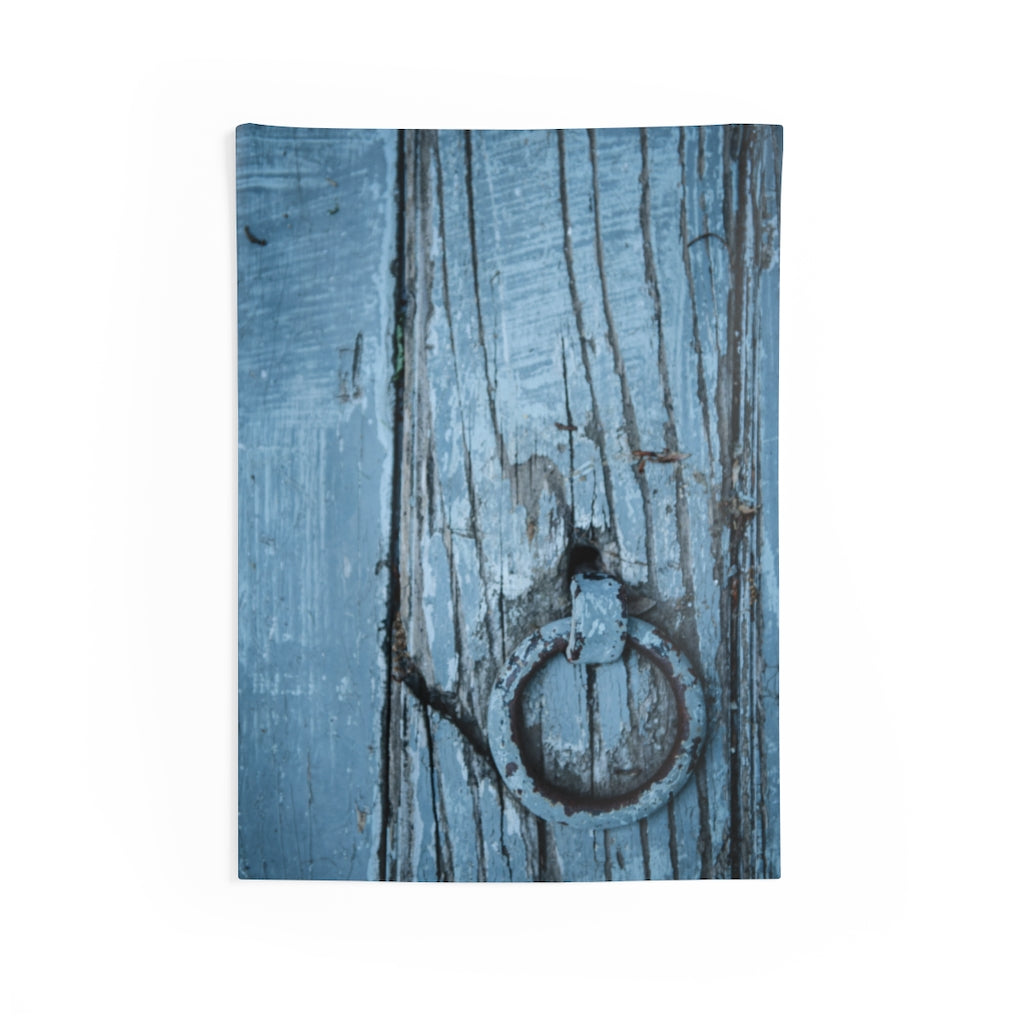 Indoor Wall Tapestries: Blue Wooden Door