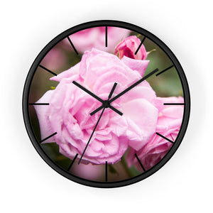 Wall clock: Pink Flower (with lines)