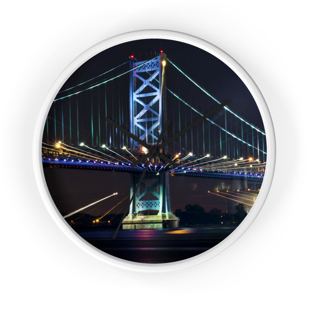 Wall clock: Benjamin Franklin Bridge at Night #2