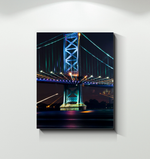 Canvas Wrap - Benjamin Franklin Bridge at Night (vertical)