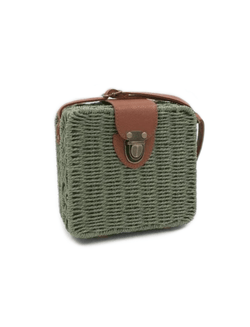 Zahara Swim Wildflower Wicker Shoulder Bag / Army Green