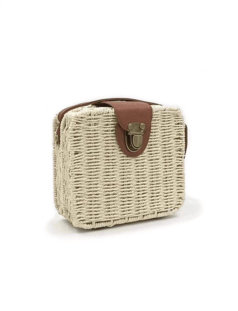 Zahara Swim Wildflower Wicker Shoulder Bag / White Chocolate