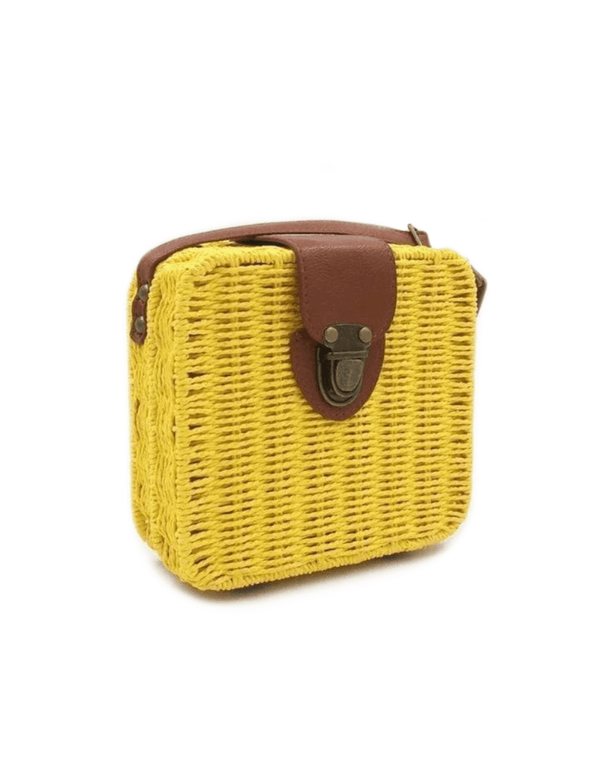 Zahara Swim Wildflower Wicker Shoulder Bag / Yellow