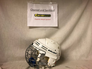 Used Bauer 4500 with cage Size XS White Ice Hockey Helmet