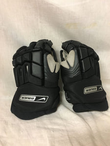 "Used Nike Bauer Supreme 70 Size 12"" Black Ice Hockey Gloves"