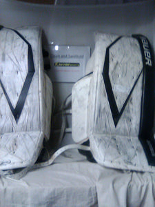 "Used Bauer Supreme 100 Size 36"" +1 White Hockey Goalie Leg Pads"