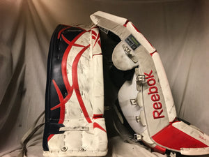 "Used Reebok 9000 Size 33""+1 Red White Blue Ice Hockey Goalie Leg Pads"