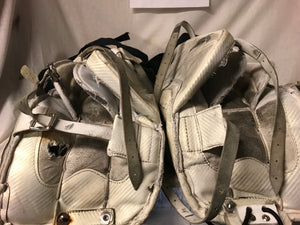 "Used Vaughn Velocity 7200 Size 30""+1 White Ice Hockey Goalie Leg Pads"
