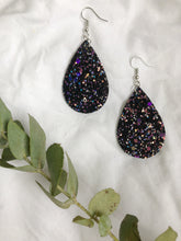 Load image into Gallery viewer, Black sparkle teardrop earrings