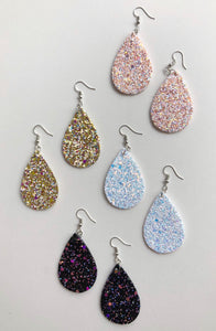 Pink sparkle teardrop earrings
