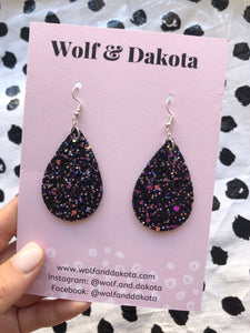Black sparkle teardrop earrings