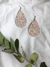 Load image into Gallery viewer, Pink sparkle teardrop earrings