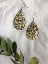 Load image into Gallery viewer, Gold sparkle teardrop earrings