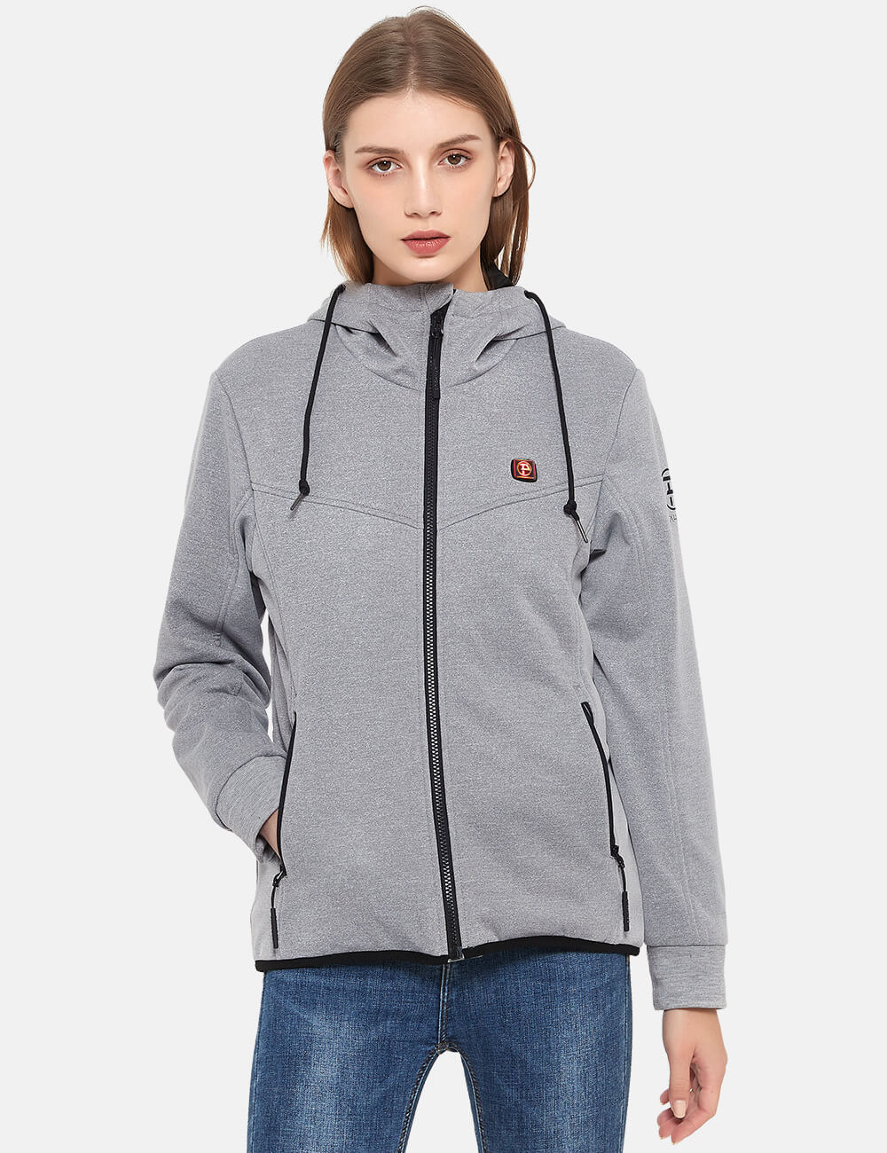 Womens 3 Zone Water-Resistant Heated Hoodie with Battery Kit - Grey