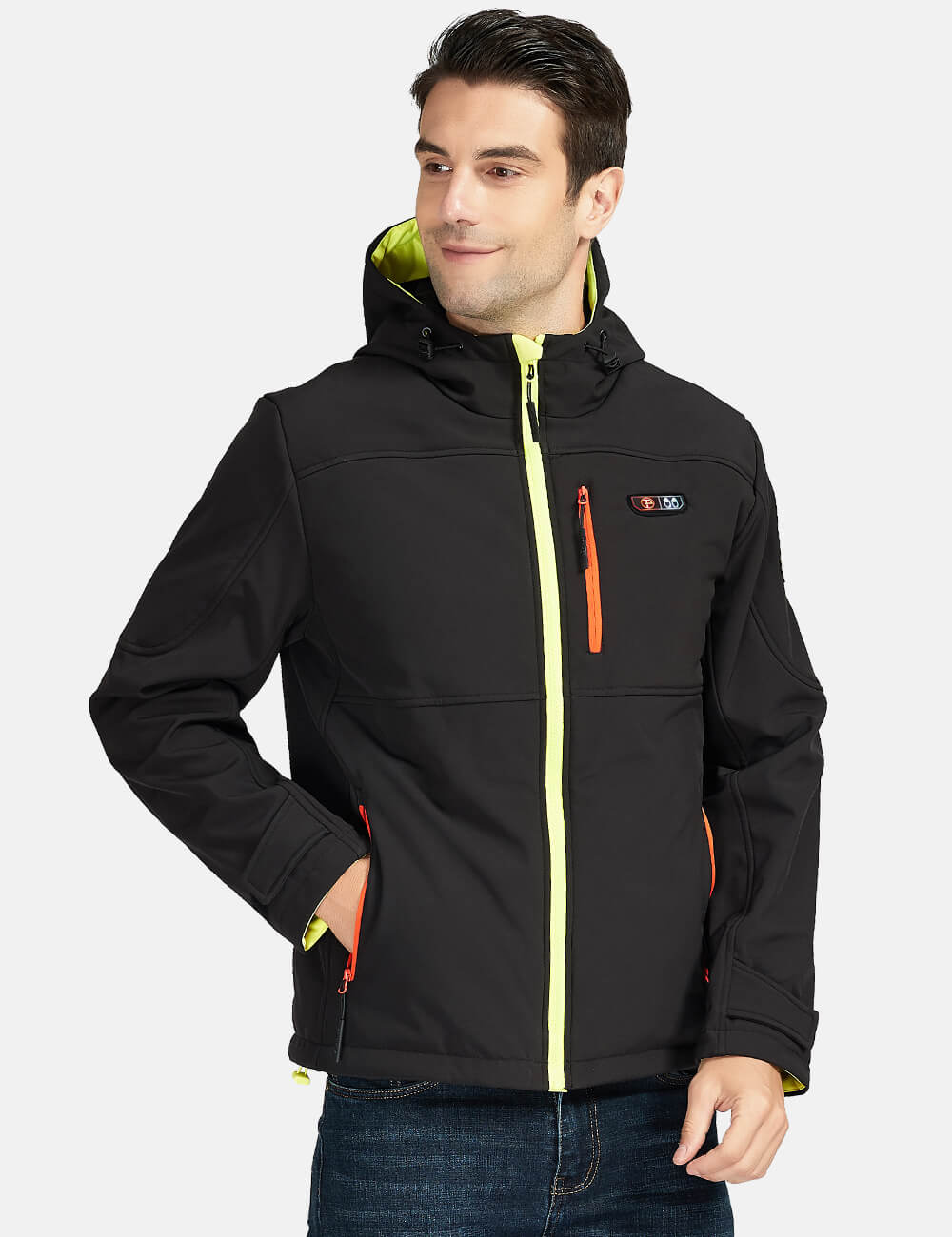 Mens 5 Zone Heated Jacket with Hood with Battery Kit