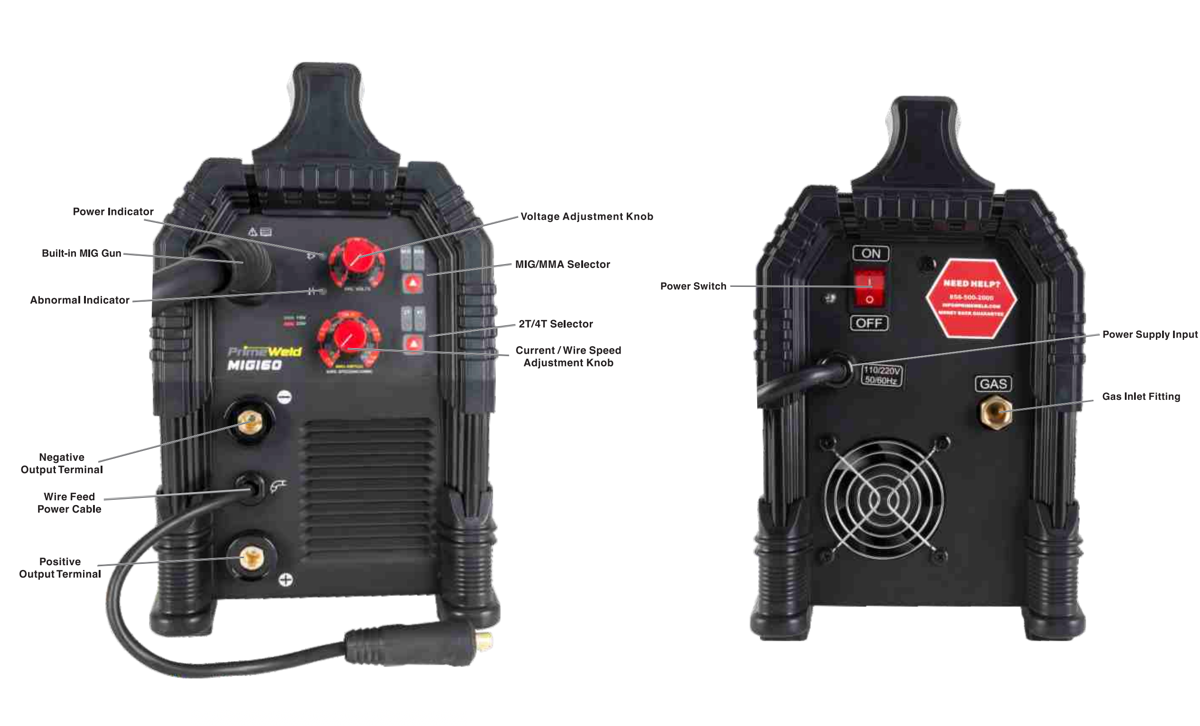 MIG160 160-Amp Flux Core MIG Welder front and back panel views
